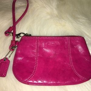 COACH Raspberry Pink Soft Patent Leather Wristlet